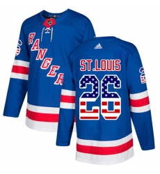 Men's Adidas New York Rangers #26 Martin St. Louis Authentic Royal Blue USA Flag Fashion NHL Jersey
