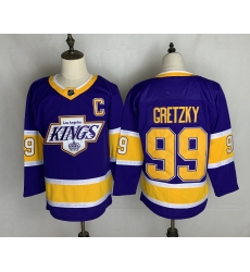 Men's Los Angeles Kings #99 Wayne Gretzky Authentic Purple Fights Cancer Practice Jersey