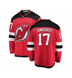 Men's New Jersey Devils #17 Wayne Simmonds Fanatics Branded Red Home Breakaway Hockey Jersey