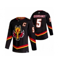 Men's Calgary Flames #5 Mark Giordano Black 2020-21 Reverse Retro Alternate Hockey Jersey