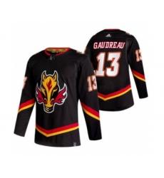 Men's Calgary Flames #13 Johnny Gaudreau Black 2020-21 Reverse Retro Alternate Hockey Jersey