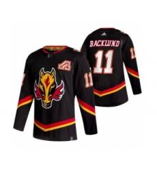 Men's Calgary Flames #11 Mikael Backlund Black 2020-21 Reverse Retro Alternate Hockey Jersey