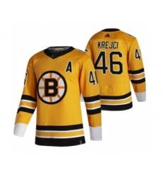 Men's Boston Bruins #46 David Krejci Yellow 2020-21 Reverse Retro Alternate Hockey Jersey