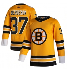 Men's Boston Bruins #37 Patrice Bergeron adidas Yellow 2020-21 Reverse Retro Authentic Player Jersey
