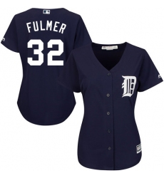 Women's Majestic Detroit Tigers #32 Michael Fulmer Authentic Navy Blue Alternate Cool Base MLB Jersey