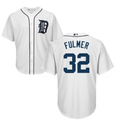 Youth Majestic Detroit Tigers #32 Michael Fulmer Authentic White Home Cool Base MLB Jersey