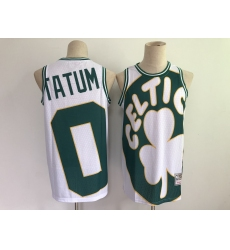 Men's Boston Celtics #0 Jayson Tatum White Big Face-2.0 Jersey