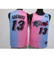 Men's Miami Heat #13 Edrice Adebayo Pink-Blue Swingman Basketball Jersey