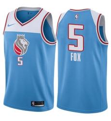 Men's Nike Sacramento Kings #5 De'Aaron Fox Swingman Blue NBA Jersey - City Edition