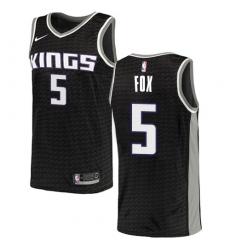 Youth Nike Sacramento Kings #5 De'Aaron Fox Authentic Black NBA Jersey Statement Edition