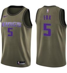 Youth Nike Sacramento Kings #5 De'Aaron Fox Swingman Green Salute to Service NBA Jersey