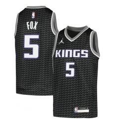 Youth Sacramento Kings #5 De'Aaron Fox Jordan Brand Black 2020-21 Swingman Player Jersey
