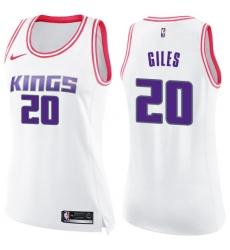 Women's Nike Sacramento Kings #20 Harry Giles Swingman White/Pink Fashion NBA Jersey