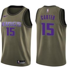 Men's Nike Sacramento Kings #15 Vince Carter Swingman Green Salute to Service NBA Jersey
