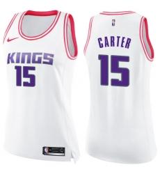 Women's Nike Sacramento Kings #15 Vince Carter Swingman White/Pink Fashion NBA Jersey