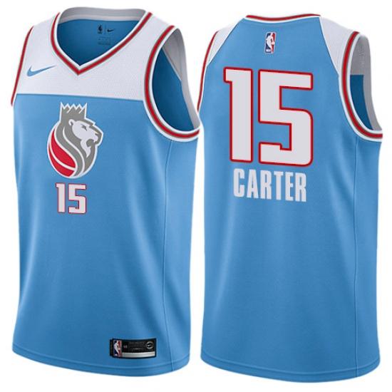 Youth Nike Sacramento Kings #15 Vince Carter Swingman Blue NBA Jersey - City Edition