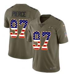 Men's Nike Baltimore Ravens #97 Michael Pierce Limited Olive/USA Flag Salute to Service NFL Jersey