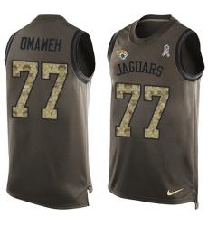 Men's Nike Jacksonville Jaguars #77 Patrick Omameh Limited Green Salute to Service Tank Top NFL Jersey