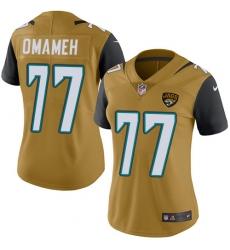 Women's Nike Jacksonville Jaguars #77 Patrick Omameh Limited Gold Rush Vapor Untouchable NFL Jersey