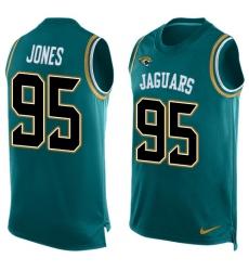 Men's Nike Jacksonville Jaguars #95 Abry Jones Limited Teal Green Player Name & Number Tank Top NFL Jersey