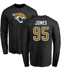 NFL Nike Jacksonville Jaguars #95 Abry Jones Black Name & Number Logo Long Sleeve T-Shirt