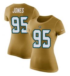 NFL Women's Nike Jacksonville Jaguars #95 Abry Jones Gold Rush Pride Name & Number T-Shirt