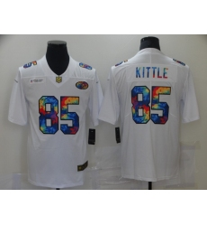 Men's San Francisco 49ers #85 George Kittle White Rainbow Version Nike Limited Jersey