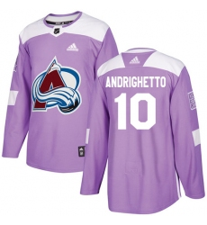 Youth Adidas Colorado Avalanche #10 Sven Andrighetto Authentic Purple Fights Cancer Practice NHL Jersey