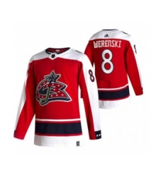 Men's Columbus Blue Jackets #8 Zach Werenski Red 2020-21 Reverse Retro Alternate Hockey Jersey