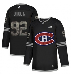 Men's Adidas Montreal Canadiens #92 Jonathan Drouin Black Authentic Classic Stitched NHL Jersey