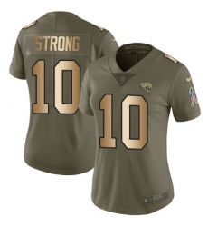 Women's Nike Jacksonville Jaguars #10 Jaelen Strong Limited Olive/Gold 2017 Salute to Service NFL Jersey