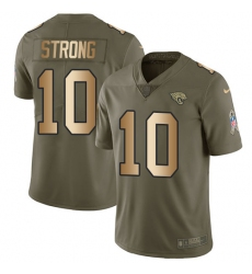 Youth Nike Jacksonville Jaguars #10 Jaelen Strong Limited Olive/Gold 2017 Salute to Service NFL Jersey