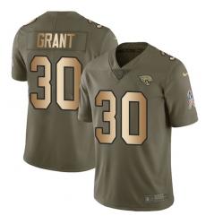 Men's Nike Jacksonville Jaguars #30 Corey Grant Limited Olive/Gold 2017 Salute to Service NFL Jersey