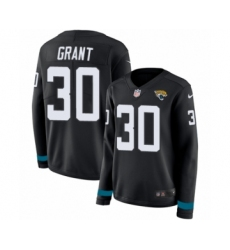Women's Nike Jacksonville Jaguars #30 Corey Grant Limited Black Therma Long Sleeve NFL Jersey