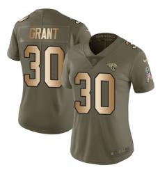 Women's Nike Jacksonville Jaguars #30 Corey Grant Limited Olive/Gold 2017 Salute to Service NFL Jersey