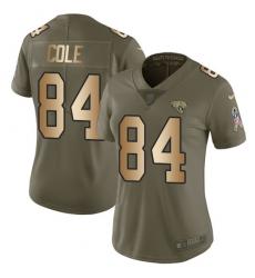 Women's Nike Jacksonville Jaguars #84 Keelan Cole Limited Olive/Gold 2017 Salute to Service NFL Jersey
