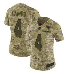 Women's Nike Jacksonville Jaguars #4 Josh Lambo Limited Camo 2018 Salute to Service NFL Jersey