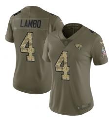 Women's Nike Jacksonville Jaguars #4 Josh Lambo Limited Olive/Camo 2017 Salute to Service NFL Jersey