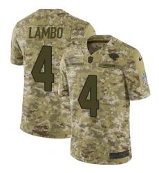 Youth Nike Jacksonville Jaguars #4 Josh Lambo Limited Camo 2018 Salute to Service NFL Jersey