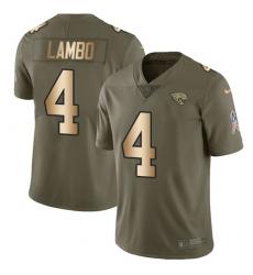 Youth Nike Jacksonville Jaguars #4 Josh Lambo Limited Olive/Gold 2017 Salute to Service NFL Jersey