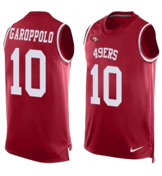 Men's Nike San Francisco 49ers #10 Jimmy Garoppolo Limited Red Player Name & Number Tank Top NFL Jersey