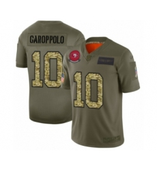 Men's San Francisco 49ers #10 Jimmy Garoppolo 2019 Olive Camo Salute to Service Limited Jersey