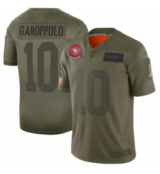 Youth San Francisco 49ers #10 Jimmy Garoppolo Limited Camo 2019 Salute to Service Football Jersey