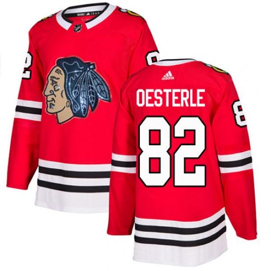 Men's Adidas Chicago Blackhawks #82 Jordan Oesterle Authentic Red Fashion Gold NHL Jersey