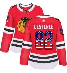 Women's Adidas Chicago Blackhawks #82 Jordan Oesterle Authentic Red USA Flag Fashion NHL Jersey