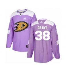 Men's Anaheim Ducks #38 Derek Grant Authentic Purple Fights Cancer Practice Hockey Jersey