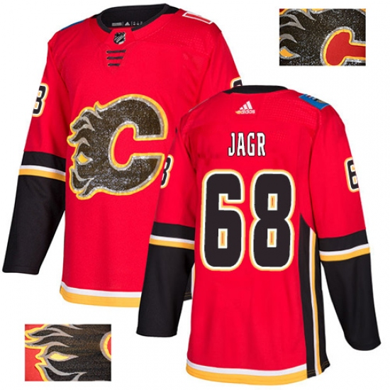 Men's Adidas Calgary Flames #68 Jaromir Jagr Authentic Red Fashion Gold NHL Jersey