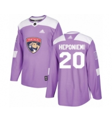 Men's Florida Panthers #20 Aleksi Heponiemi Authentic Purple Fights Cancer Practice Hockey Jersey