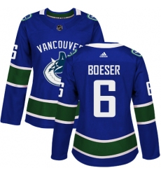 Women's Adidas Vancouver Canucks #6 Brock Boeser Authentic Blue Home NHL Jersey