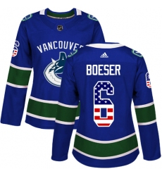 Women's Adidas Vancouver Canucks #6 Brock Boeser Authentic Blue USA Flag Fashion NHL Jersey